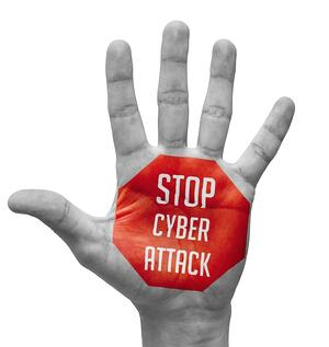 Stop Cyber Attack Sign in Red Polygon on Pale Bare Hand. Isolated on White Background.-1